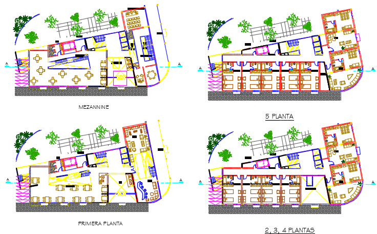 Hotel plan detail dwg file
