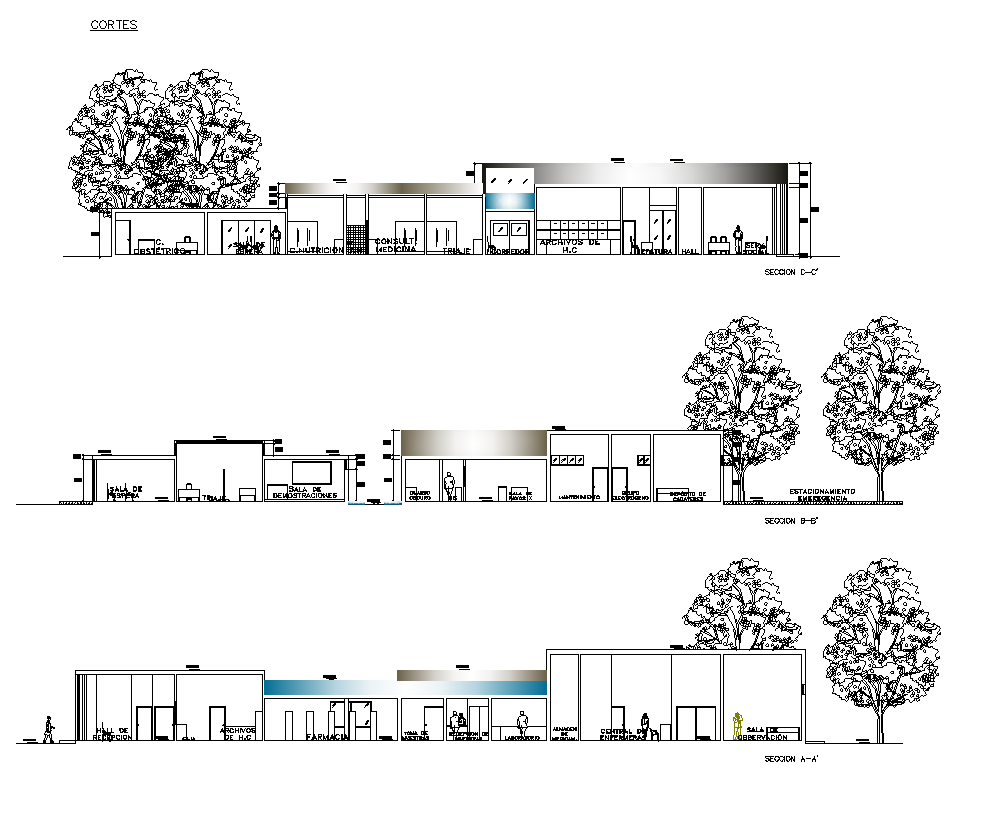 Hotels building structure sectional elevation 2d view layout file