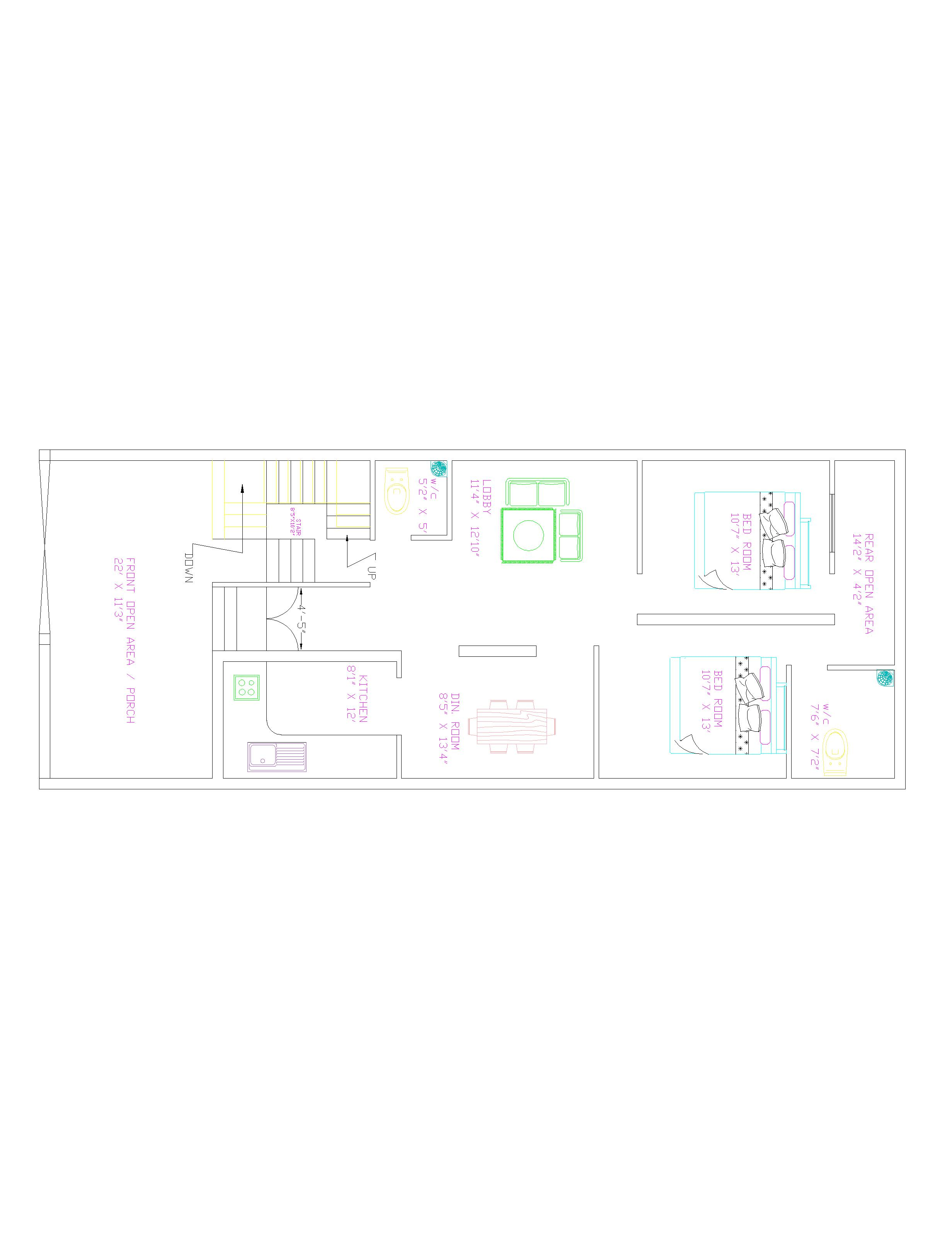 2d House Plan With Elevation