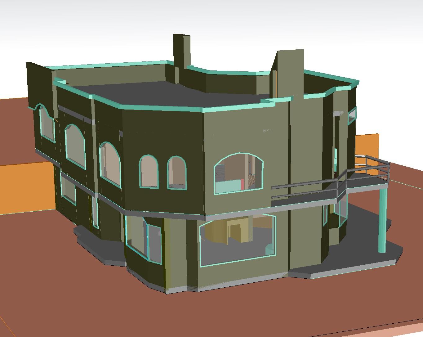 House 3 D plan dwg file