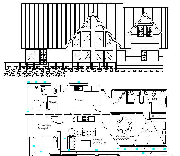 House Architecture Plan, Structure and Elevation dwg file