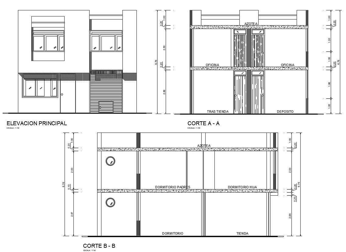 House Elevation And Section Plan