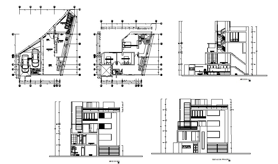 House design with elevation and section in autocad