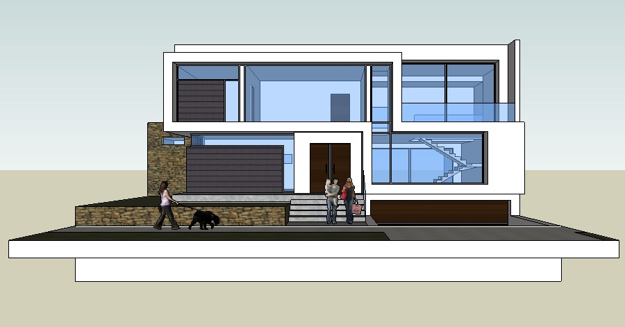 House design with exterior detail in SketchUp file