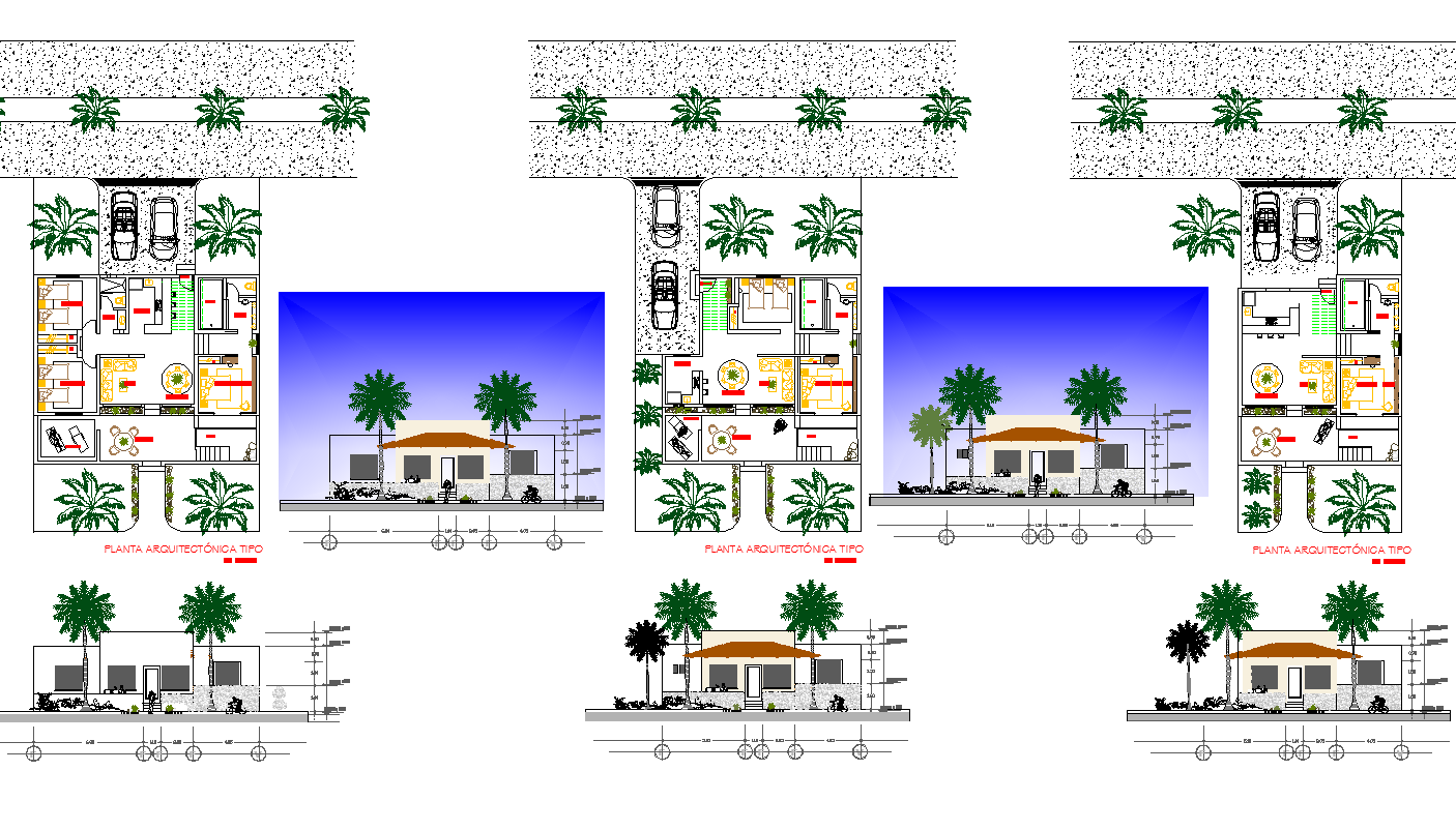 House drawing with elevation design