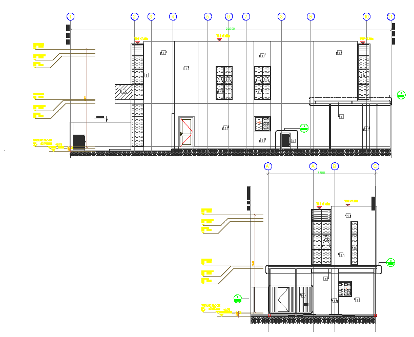 House elevation and section view detail dwg file