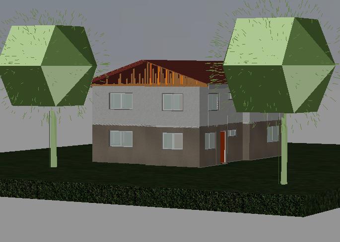 House garden 3 d cad plan detail