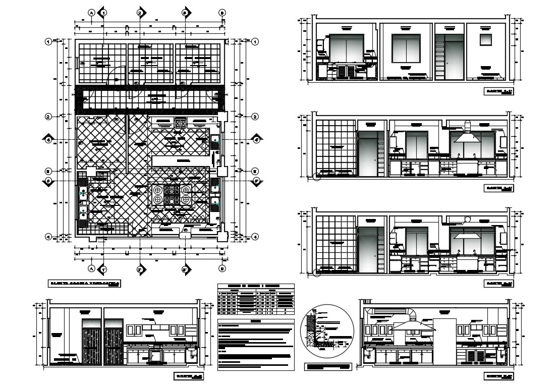 House Kitchen Elevation Section Plan And Furniture Layout