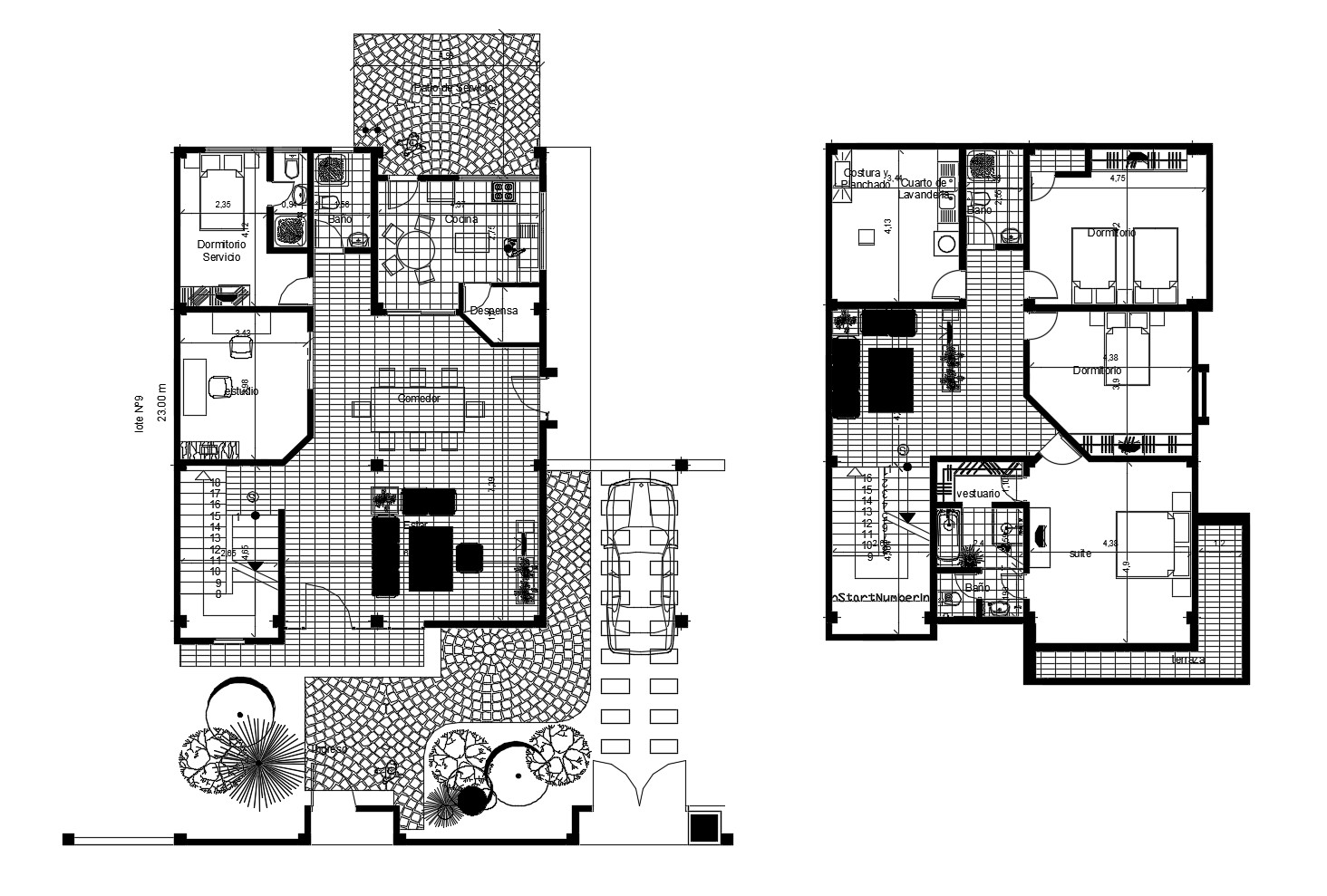 House plan 15.00mtr x 23.00mtr with furniture details in AutoCAD