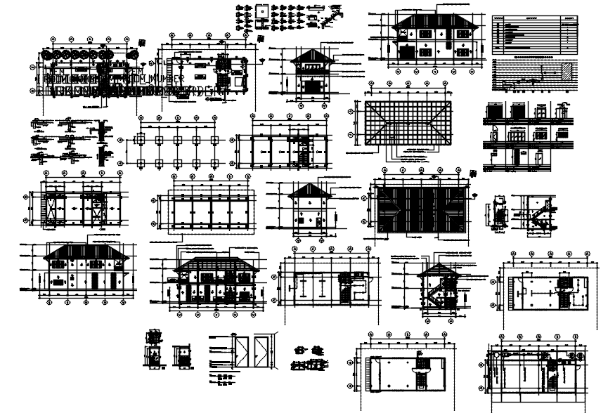 House plan Drawing with roof plan details in AutoCAD