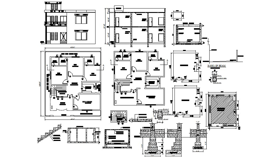 House plan with section and elevation in autocad