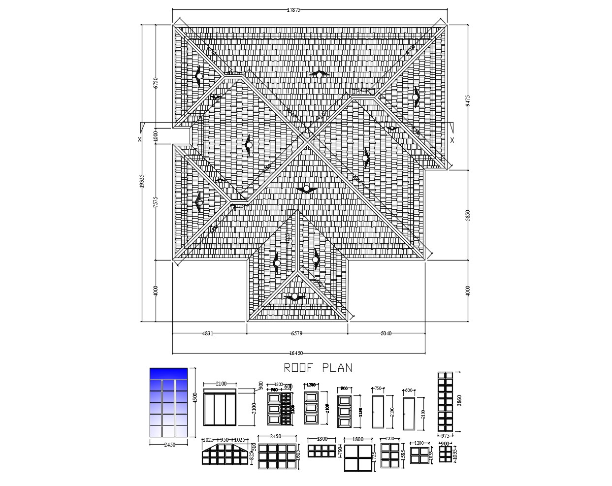 House roof plan in DWG file