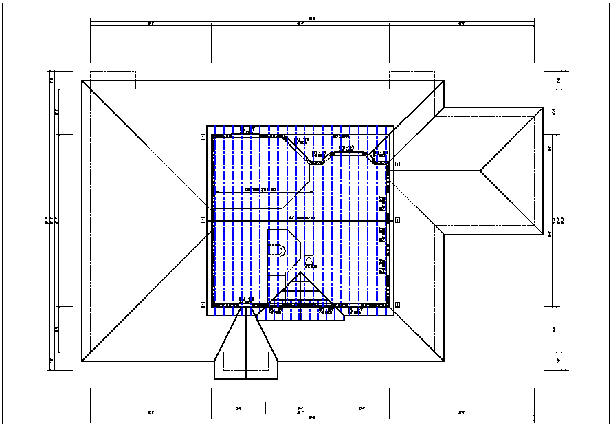 House roof structure plan view detail dwg file