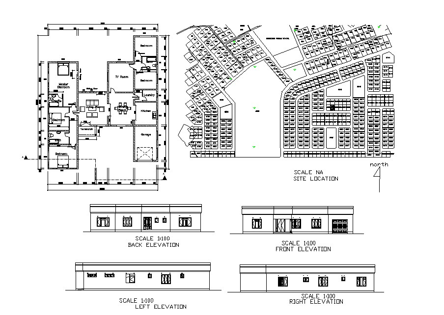 House single story all sided elevation, layout plan and site plan details dwg file
