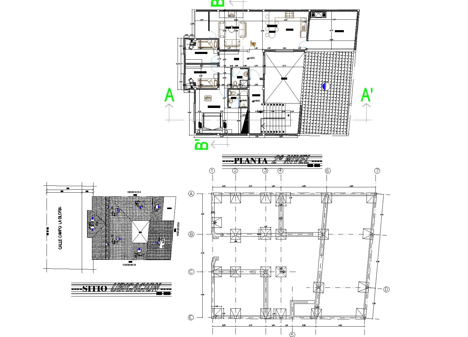 House three plants plan dwg file