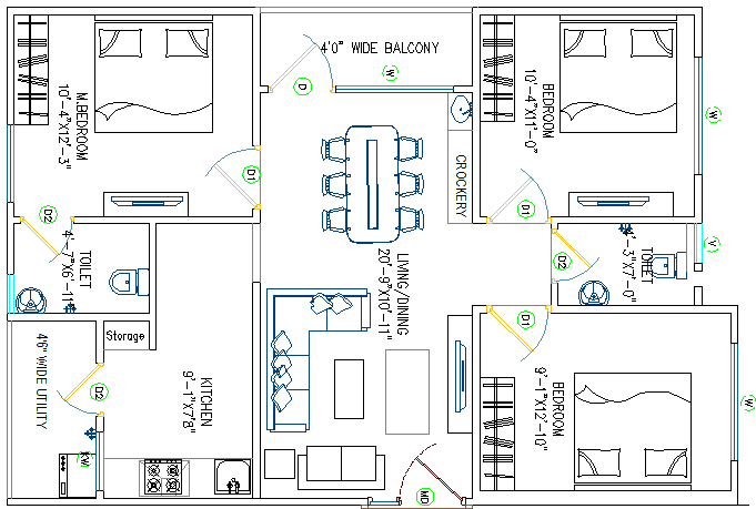 House with three bedroom architecture layout plan details dwg file