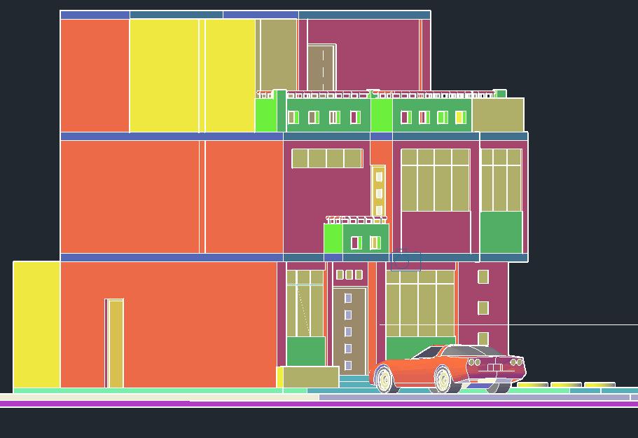 Housing 3 D plan detail dwg file