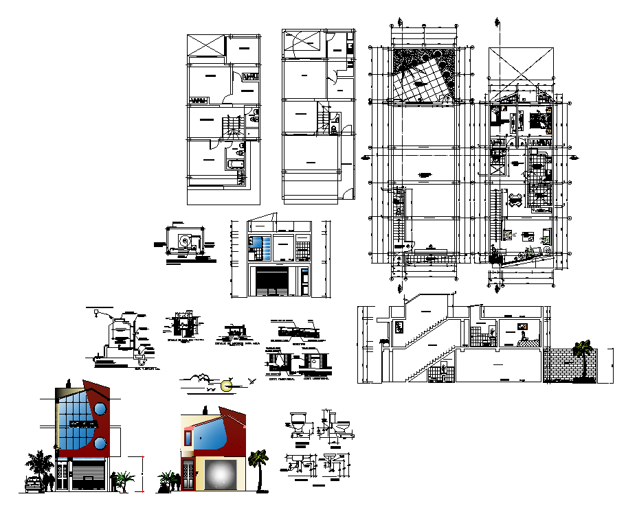 Housing Building plan, elevation and section 2d view layout dwg file