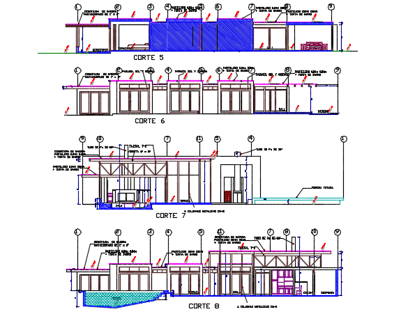 Housing section detail dwg file