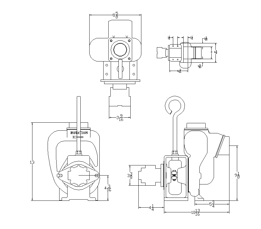 Hydraulic pump detail elevation 2d view layout autocad file
