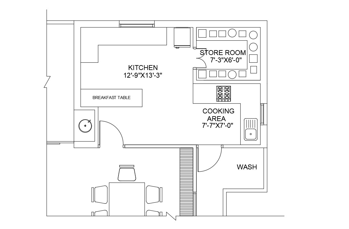 Ideal Kitchen Layout CAD Drawing Download File