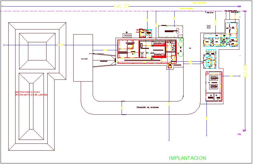Implantation view of industrial view of  dairy plant dwg file
