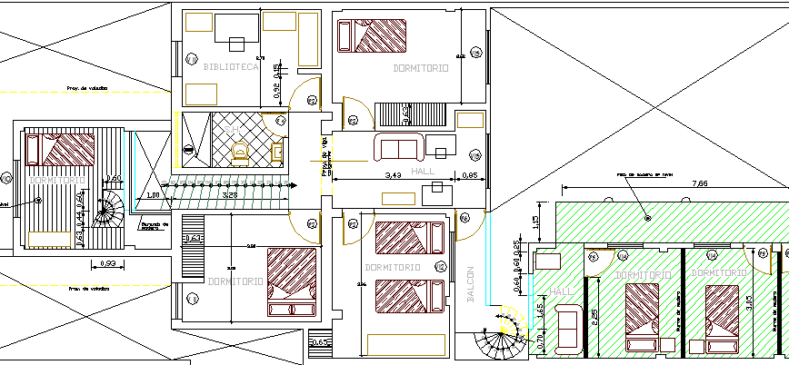 Indoor Structure of Two Story Single Family Bungalow Design dwg file