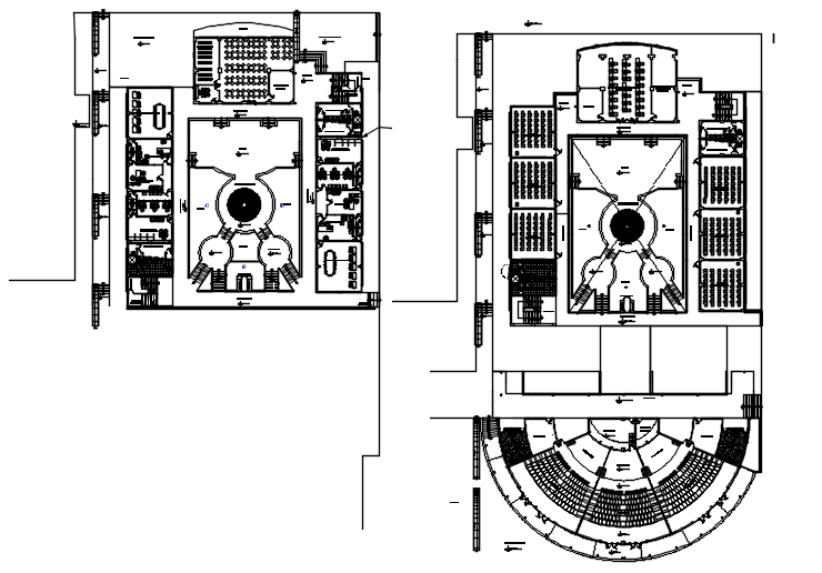 Institute plan with detail dimension in dwg file