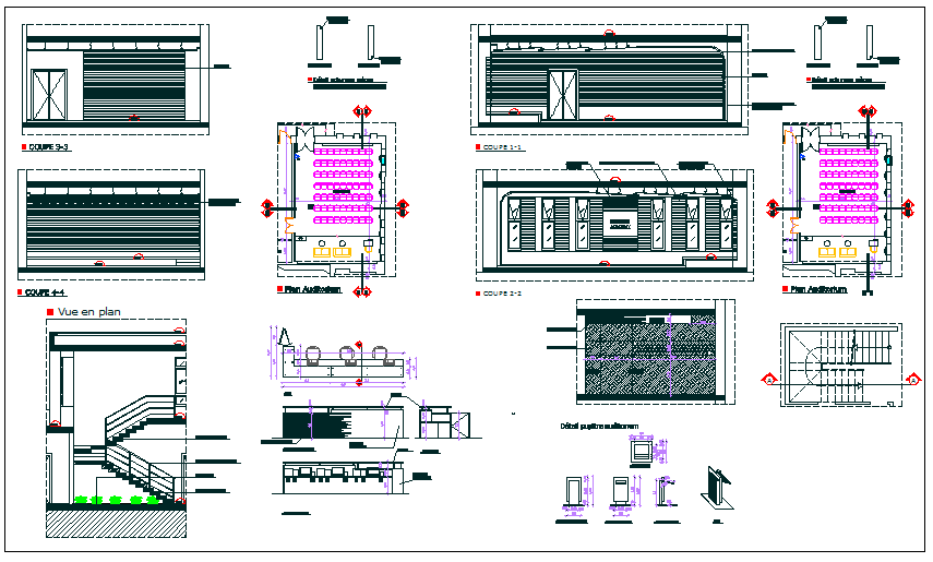 Interior auditorium furniture detail view dwg file