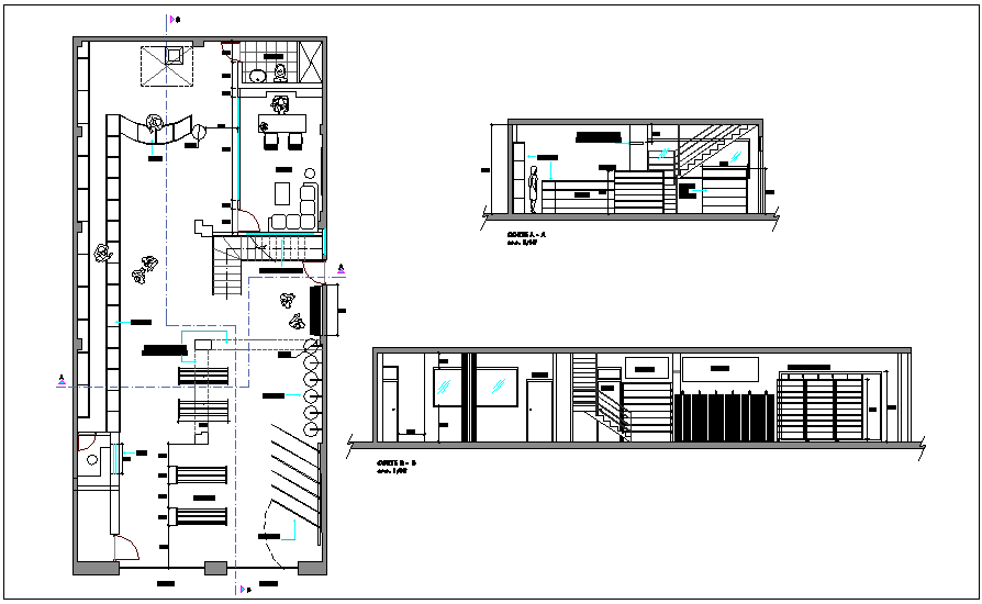 Interior design of commercial shop plan with different axis section view dwg file