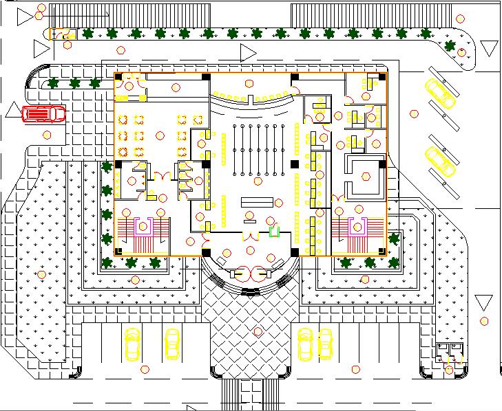 Interior detail of bank dwg file