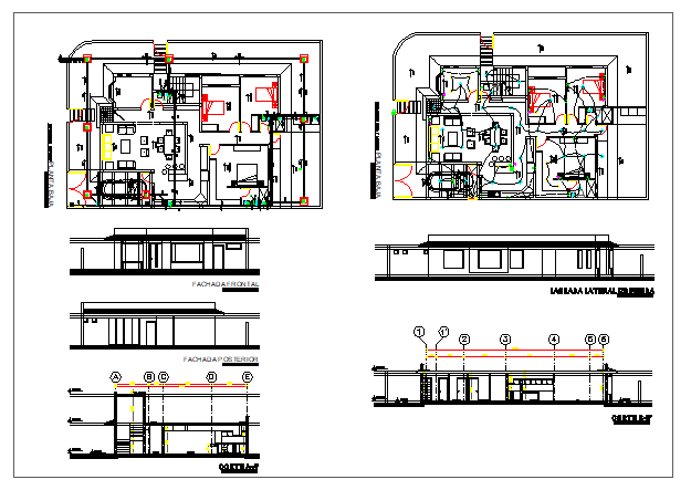 Interior floor plan and exterior elevation of a  housedwg file
