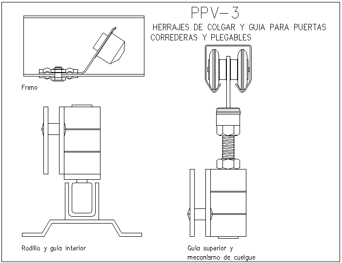 Interior guide and roller view with side view for door dwg file