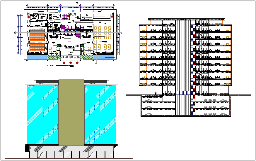 Interior view of finance office building plan and elevation dwg file