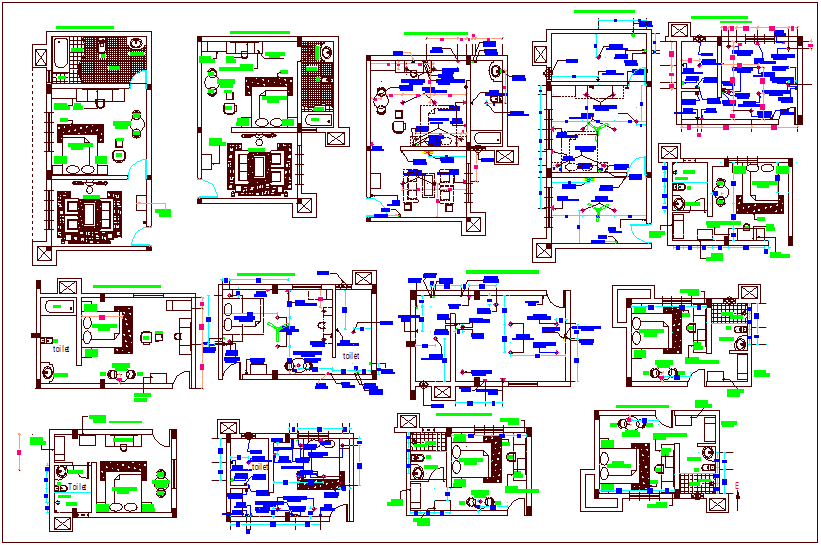 Interior view of main building plan, furniture & electrical dwg file