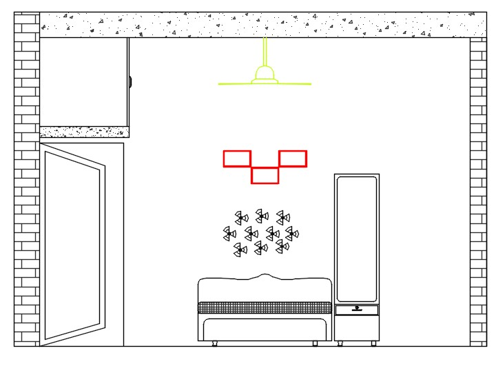 Interior view of room. sectional elevation of room showing interior view of bedroom. including detail of t.v cabinet and tv unit
