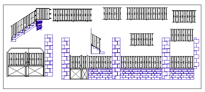 Iron outdoor gate details with perimeter fence of garden dwg file