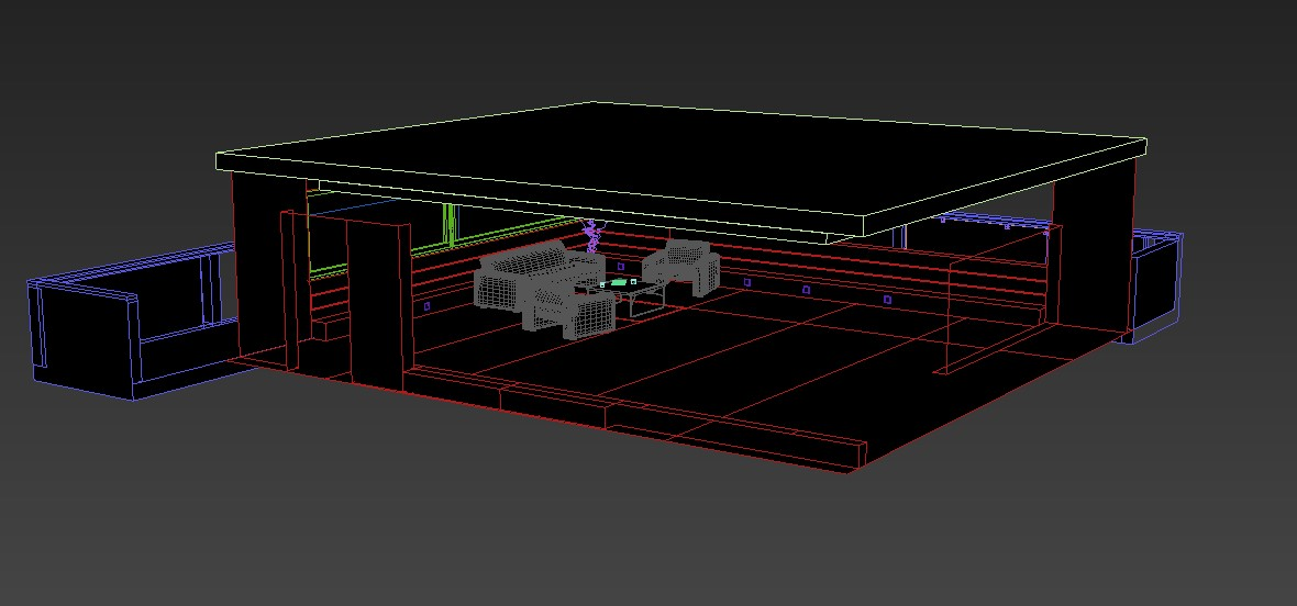 Isometric View Of Drawing Room With Furniture In 3D MAX File Free