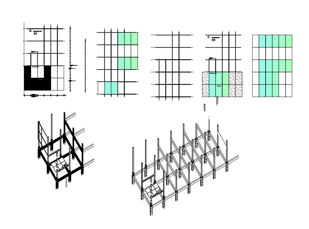 Isometric constructive section and cover plan details of apartment dwg file
