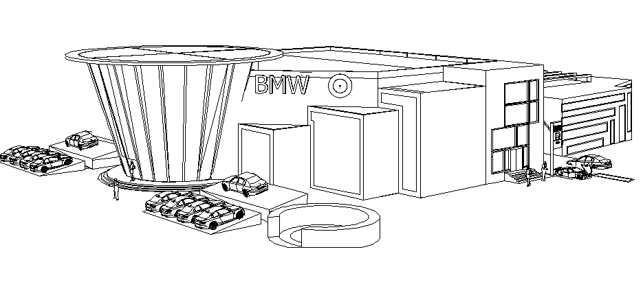 Isometric elevation view of BMW four wheeler showroom dwg file