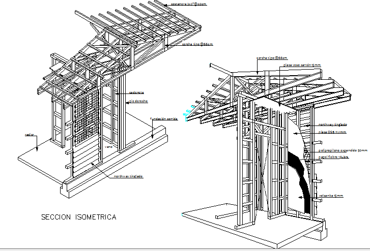 Isometric sectional view details of single family house project dwg file