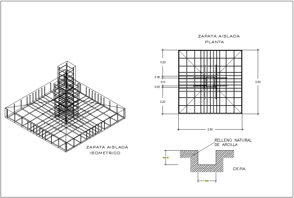 Isometric view of isolated footing view with plan for house with structure view dwg file