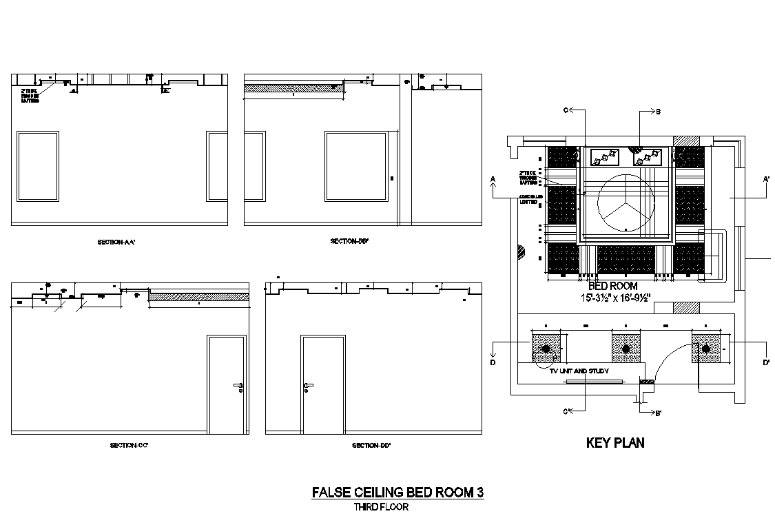 Key Plan of Bedroom 15'1'' x 14'6'' with Different Section in dwg file
