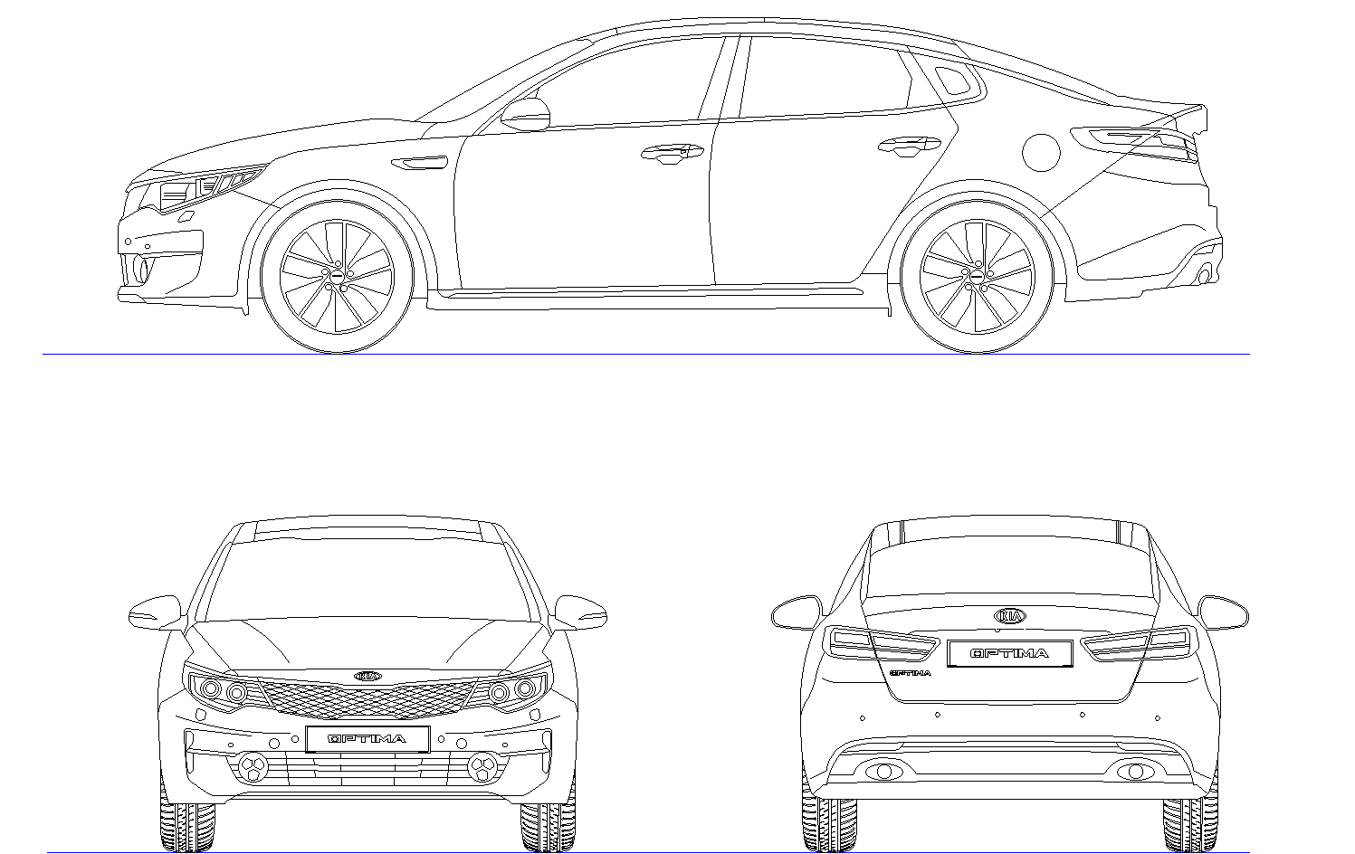 Kia Optima car plan detail dwg.
