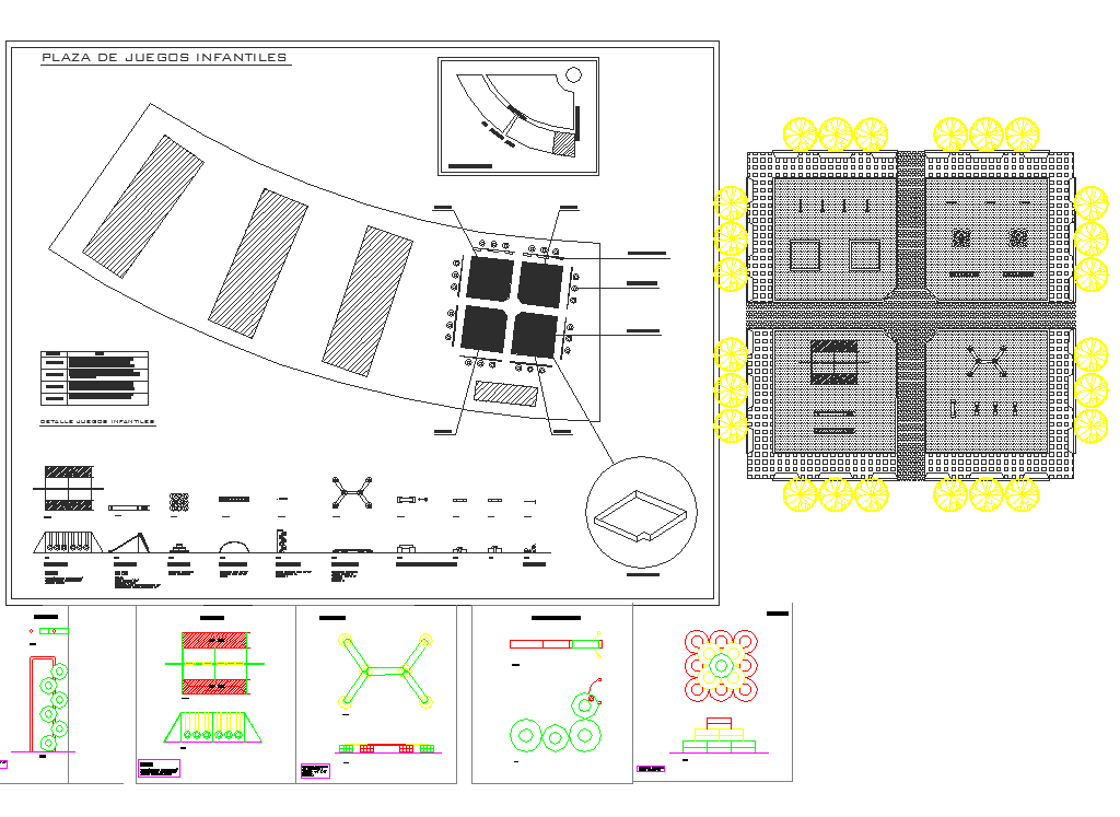 Kids outdoor playing equipments plan detail view dwg file