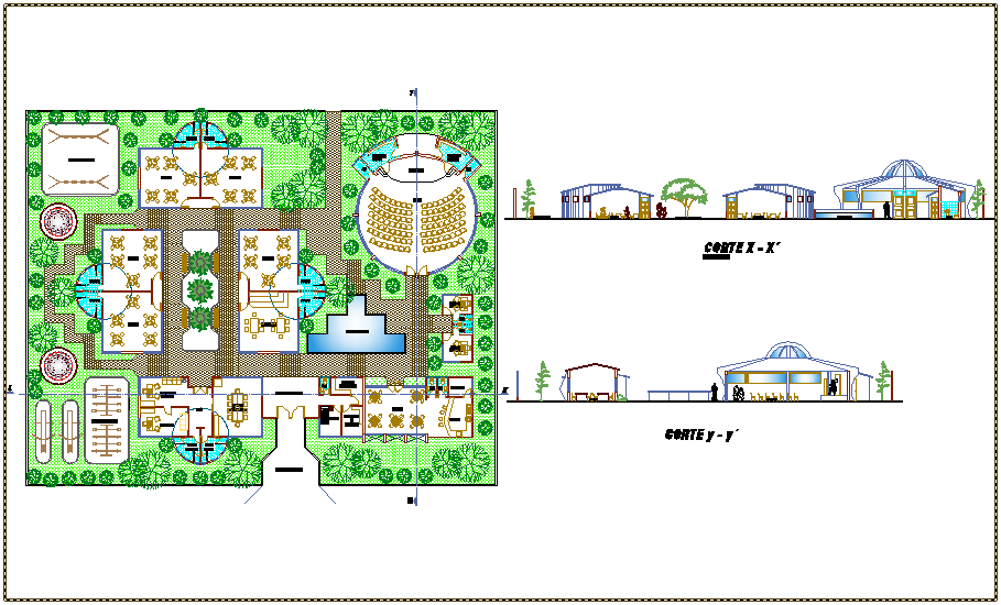 Kinder garden landscaping view with  school section view dwg file