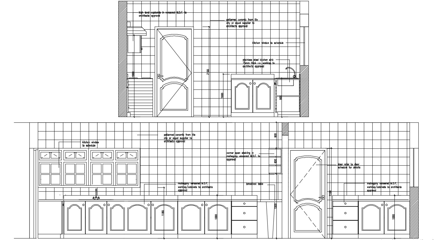 Kitchen Elevation With Tiles Cabinets Autocad File Free