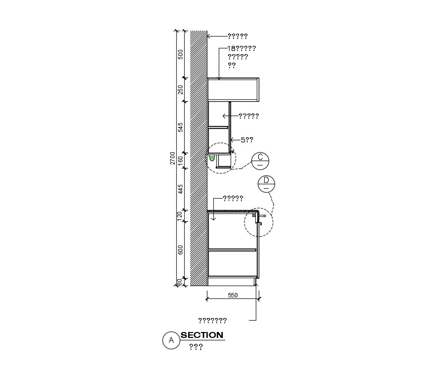 Kitchen Section Plan In Dwg File Cadbull
