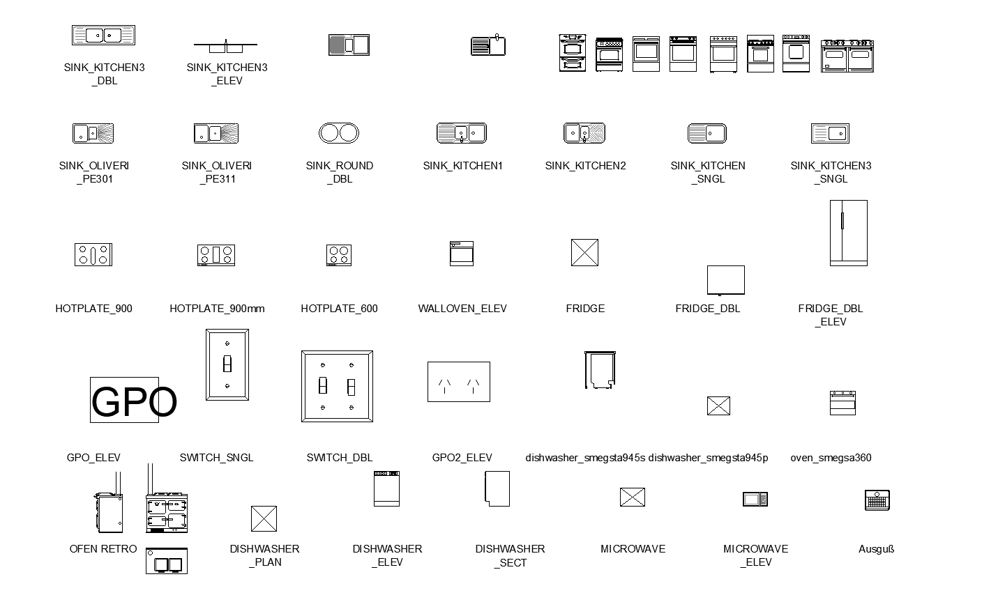 Kitchen Technics plan detail dwg.