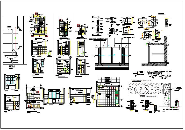 Kitchen & wash room plan, design plan layout view in detail dwg file